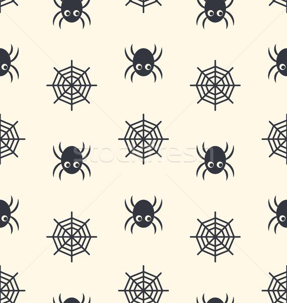 Spinne Spinnennetz schwarz beige abstrakten Stock foto © smeagorl