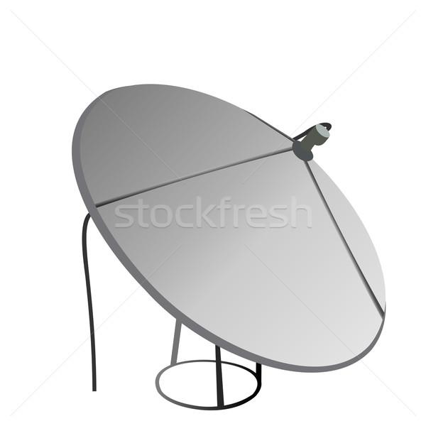 Satellite antenne isolé blanche vecteur ordinateur Photo stock © smeagorl