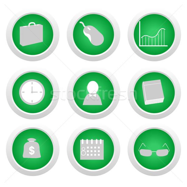 Green sticker with icon 9 Stock photo © smeagorl