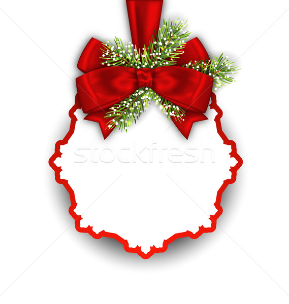 Christmas Greeting Card with Fir Twigs and Bow Ribbon Stock photo © smeagorl