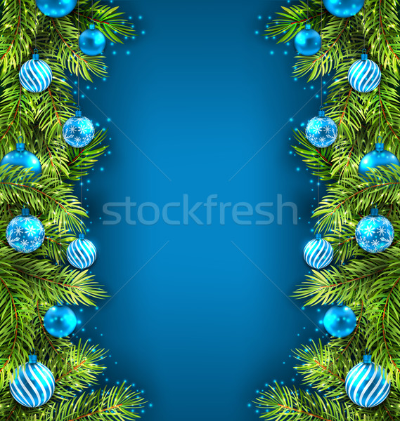 Winter Holiday Wallpaper with Fir Sprigs and Glass Balls  Stock photo © smeagorl