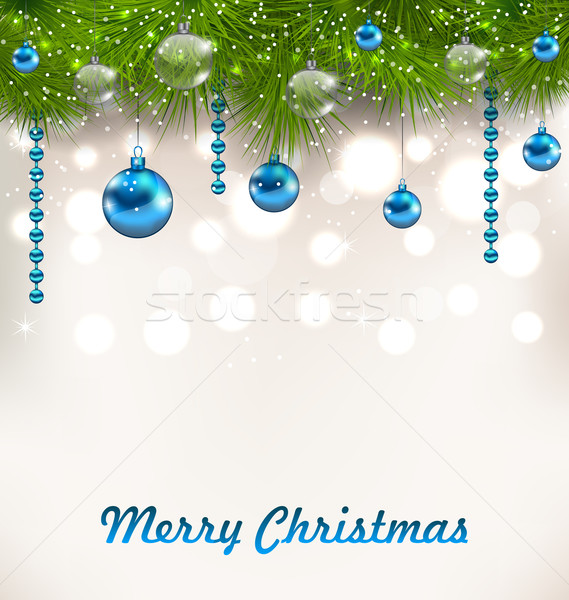 Christmas Shimmering Background with Fir Twigs and Glass Balls Stock photo © smeagorl