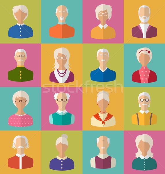 Idős emberek arcok nők férfiak illusztráció ikonok Stock fotó © smeagorl