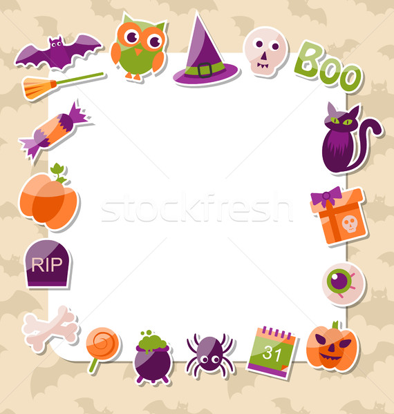 Clean Card with Colorful Halloween Flat Icons Stock photo © smeagorl