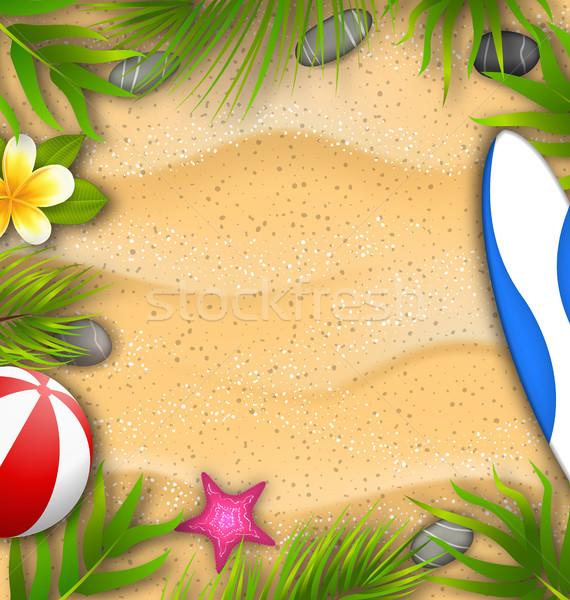 Belo cartaz folhas de palmeira bola de praia flor starfish Foto stock © smeagorl