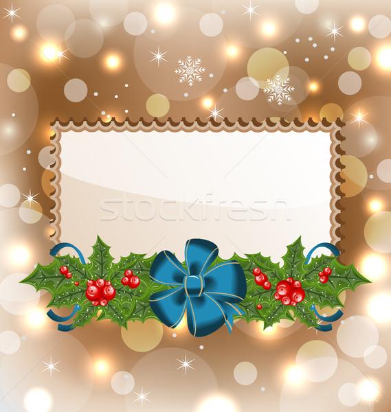 Noël élégante carte gui arc illustration Photo stock © smeagorl