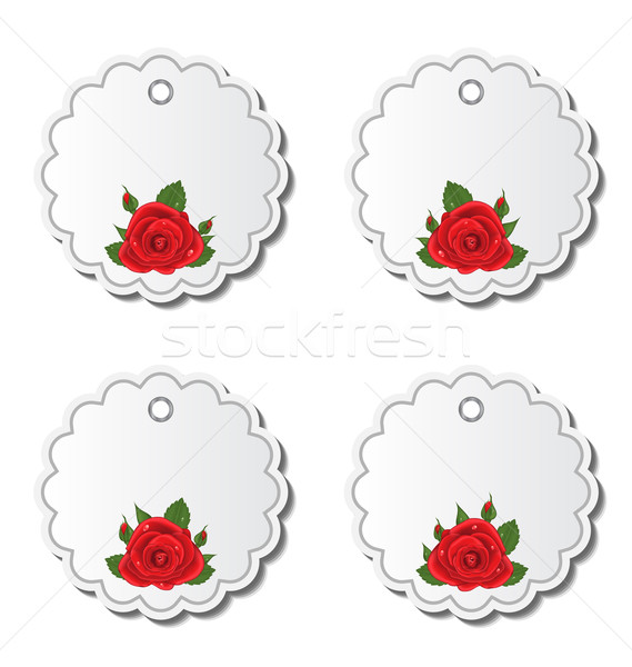 Set of beautiful cards with red roses Stock photo © smeagorl