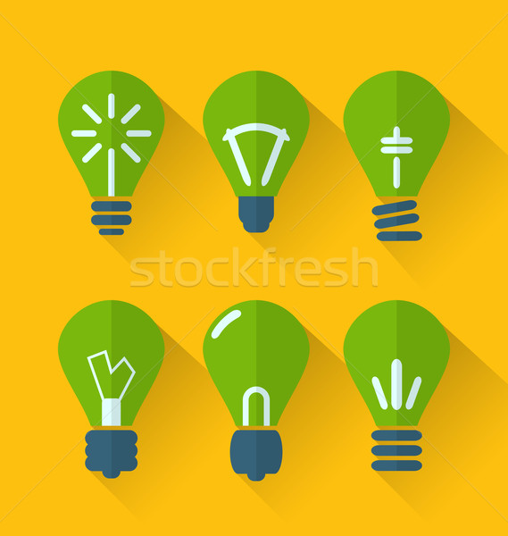 Icon set process of generating ideas to solve problems, birth of Stock photo © smeagorl