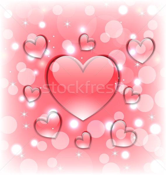Shimmering background with glassy hearts for Valentine Day Stock photo © smeagorl