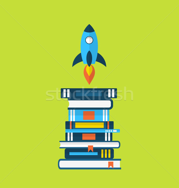 Concept of start up idea, flat icons of heap textbooks and rocke Stock photo © smeagorl