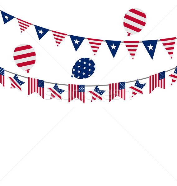 Hanging Bunting pennants for Independence Day USA, Patriotic Sym Stock photo © smeagorl