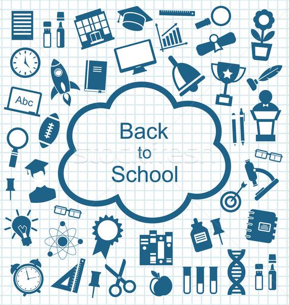 Uitrusting onderwijs eenvoudige iconen illustratie school Stockfoto © smeagorl