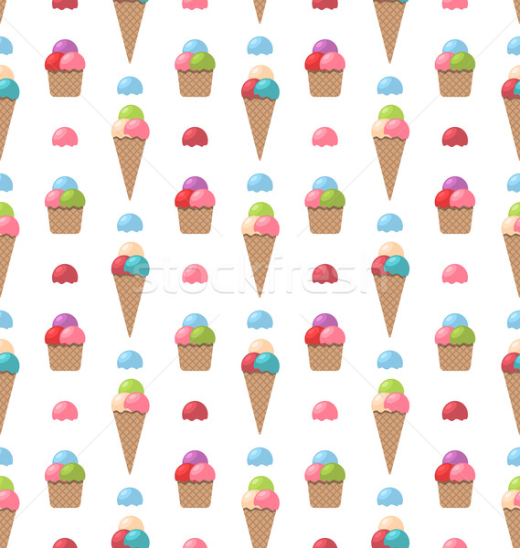 Seamless Pattern with Different Colorful Ice Creams Stock photo © smeagorl