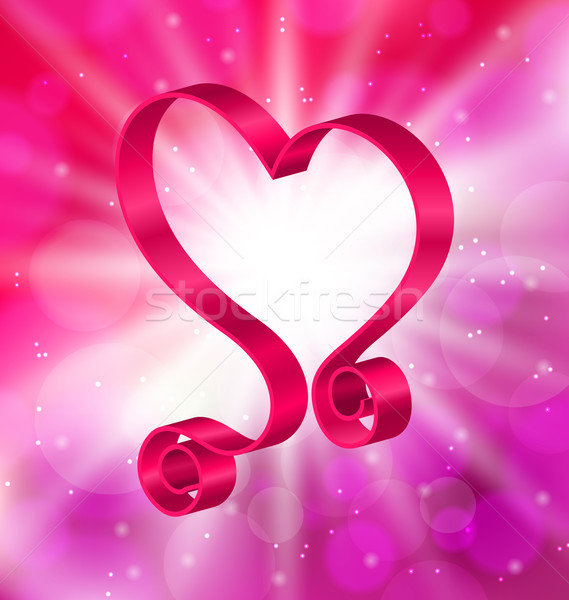 Looping Pink Ribbon in Form Heart for Happy Valentines Day Stock photo © smeagorl