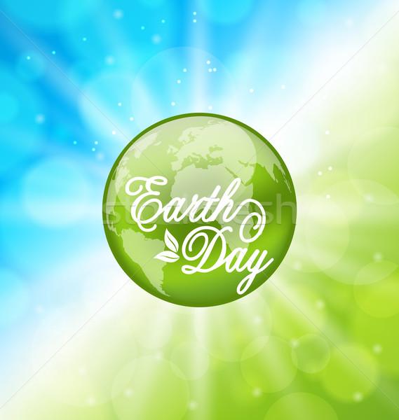 Izzó fényes föld napja ünnep bolygó illusztráció Stock fotó © smeagorl