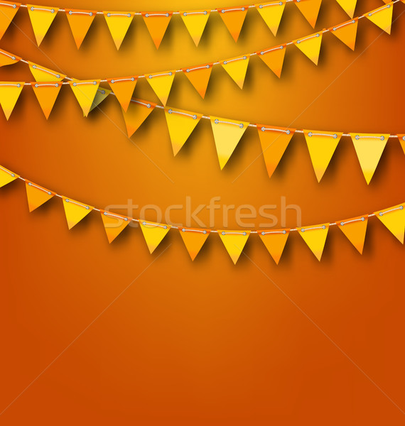 Autumnal Decoration with Orange and Yellow Bunting Pennants Stock photo © smeagorl