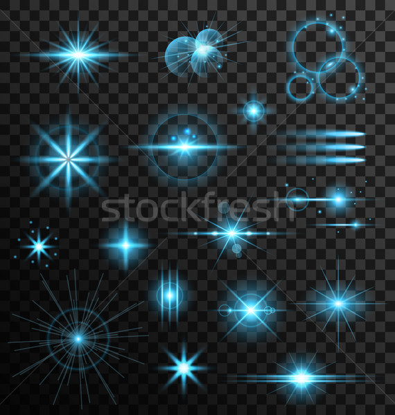 Realistic Set Lens Flares Star Lights and Glow Elements Stock photo © smeagorl