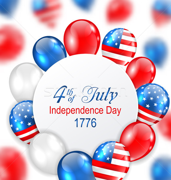 Celebration Card for Independence Day of USA with Balloons in American National Colors Stock photo © smeagorl
