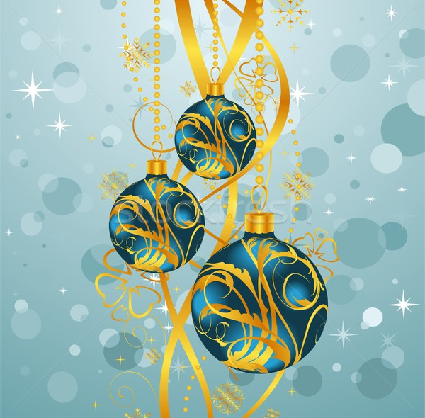 abstract blue background with Christmas balls Stock photo © smeagorl