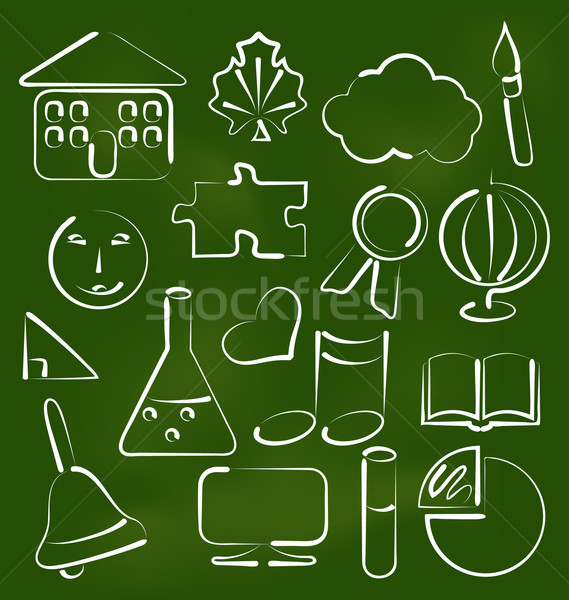 Set school icons in chalk doodle style Stock photo © smeagorl