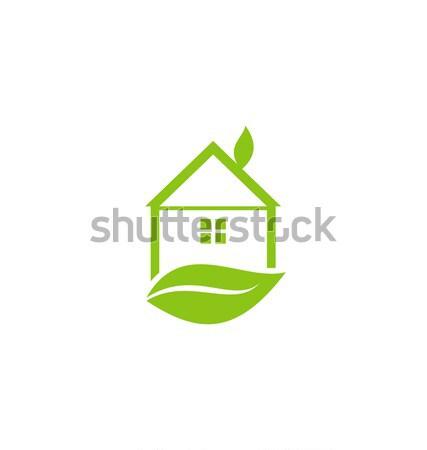 Ikon üvegház levél izolált fehér illusztráció Stock fotó © smeagorl