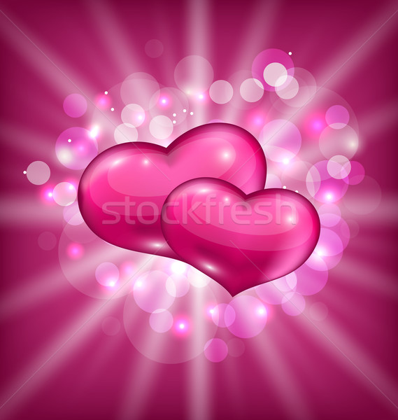 Valentine's shimmering background with beautiful hearts Stock photo © smeagorl