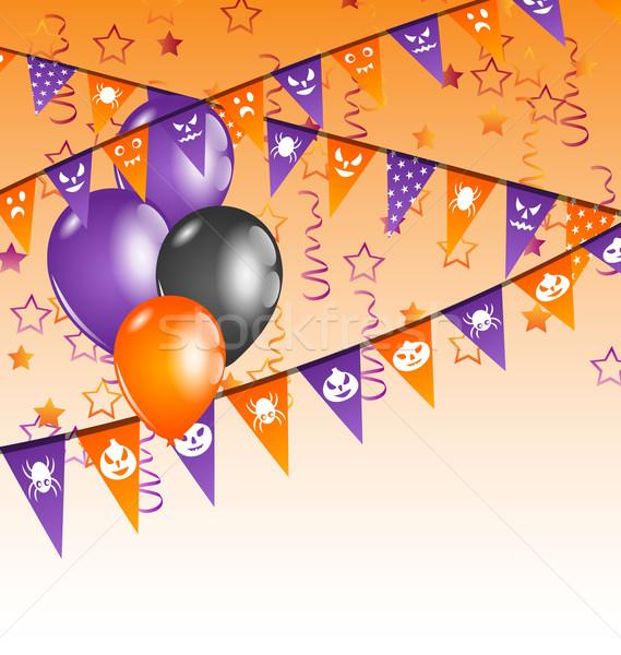 подвесной флагами шаров Хэллоуин вечеринка иллюстрация Сток-фото © smeagorl