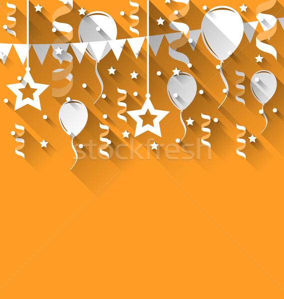 Happy birthday background with balloons, stars and pennants, tre Stock photo © smeagorl