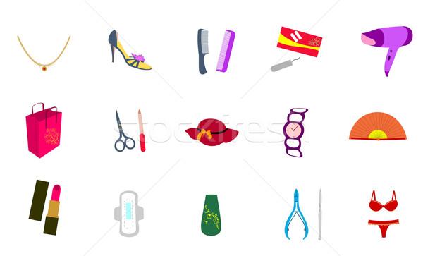 Cosmetische iconen vector vrouwen teken groep Stockfoto © smeagorl
