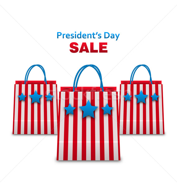 Set Shopping Bags in USA Patriotic Colors for Presidents Day Sa Stock photo © smeagorl