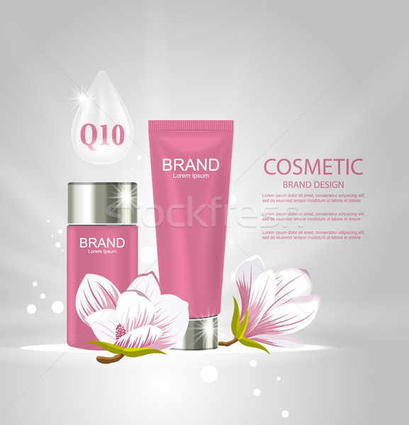Design Poster for Cosmetics Product Advertising with Magnolia Flowers Stock photo © smeagorl
