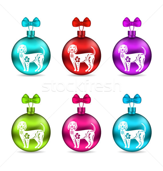 Colorful Glass Christmas Balls with Dogs. Group Balls with Bows Stock photo © smeagorl