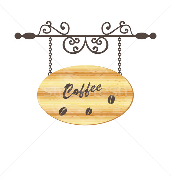 Wooden sign with coffee bean, floral forging elements Stock photo © smeagorl