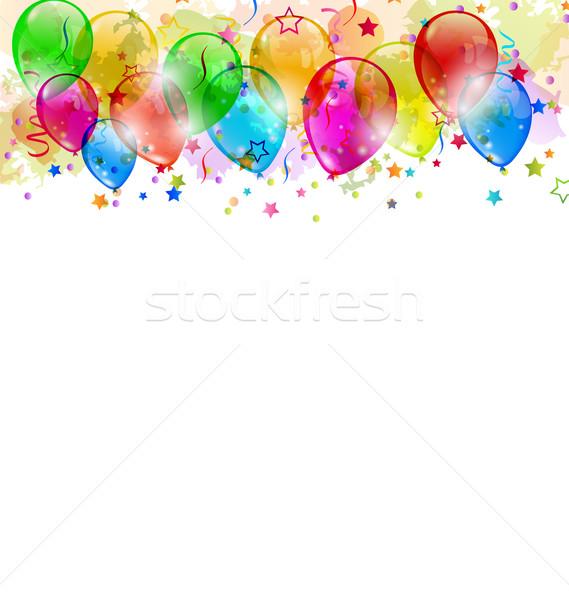 Fête ballons confettis espace texte Photo stock © smeagorl
