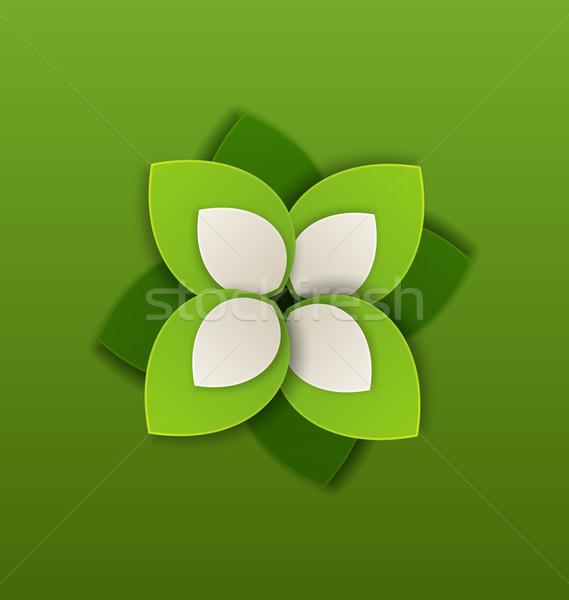 Eco label papier groene bladeren illustratie natuur Stockfoto © smeagorl
