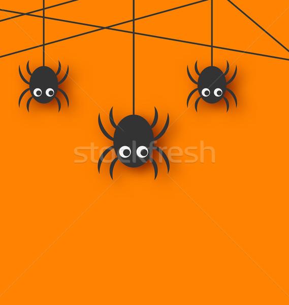 Cute grappig spinnen spinneweb illustratie oranje Stockfoto © smeagorl