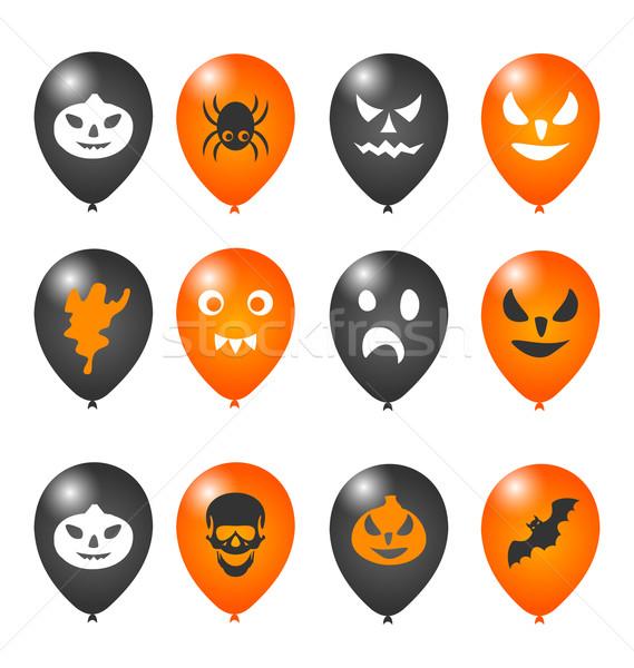 Foto stock: Colorido · balões · halloween · festa · ilustração · grupo