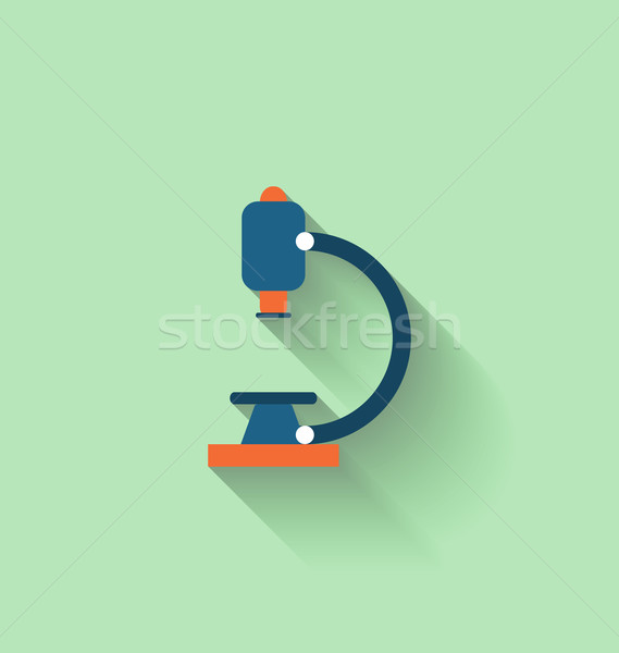 Modern Flat Icon of Microscope with Long Shadow Stock photo © smeagorl