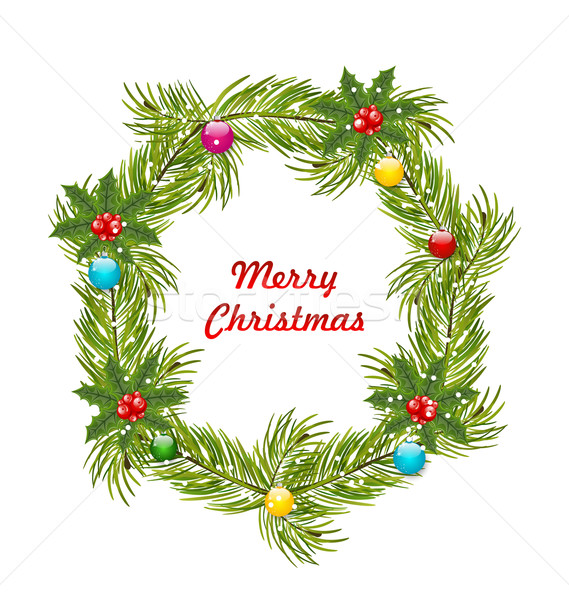 Christmas Wreath with Holly Berries Stock photo © smeagorl