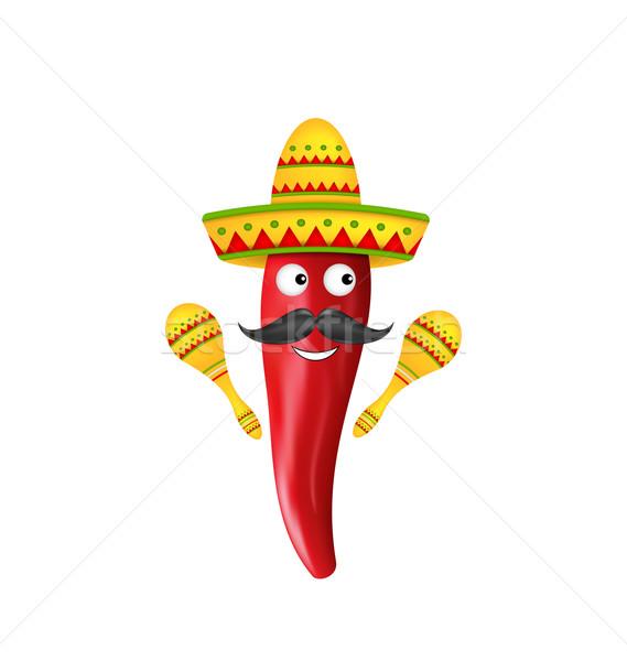 Mexican Symbols, Red Chili Pepper, Sombrero Hat, Musical Maracas, Mustache Stock photo © smeagorl