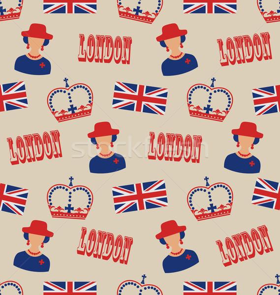 Retro Textur Silhouetten Symbole Großbritannien Stock foto © smeagorl