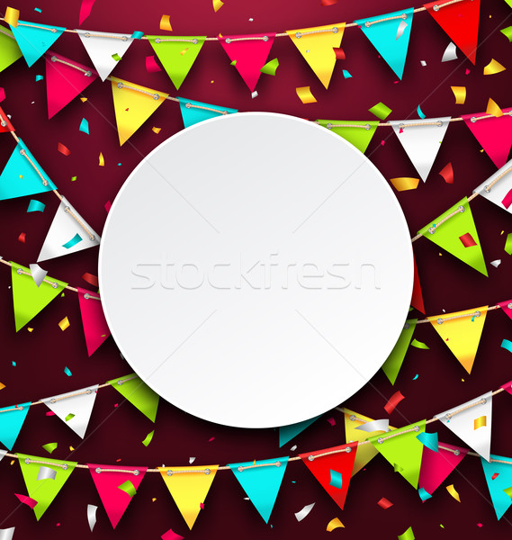 Party Background with Clean Card, Colorful Bunting and Confetti Stock photo © smeagorl