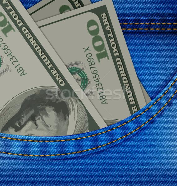 Poche denim pantalon dollars illustration Photo stock © smeagorl
