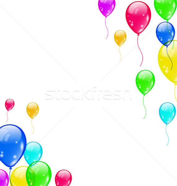 Stock photo: Set colourful flying balloons for your party
