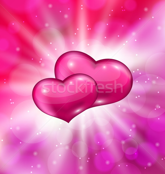 Shimmering background with beautiful hearts for  Valentine day Stock photo © smeagorl