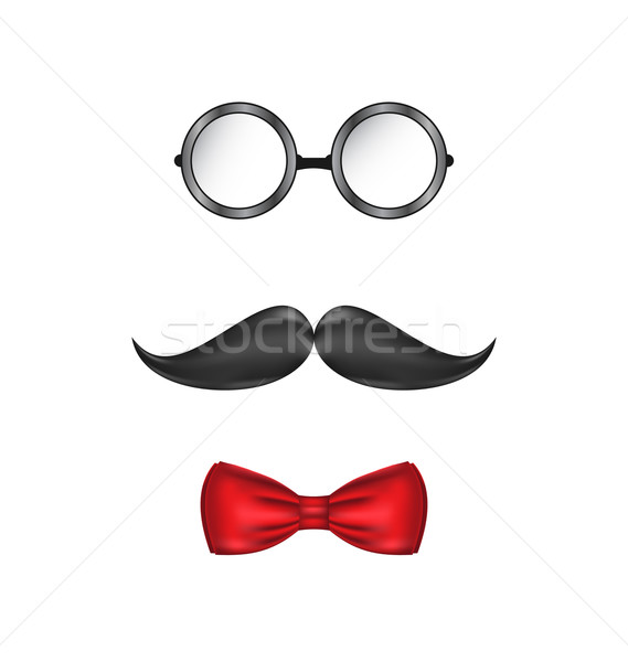 Hipster symbolic of a man face, glasses, mustache and bow-tie, i Stock photo © smeagorl