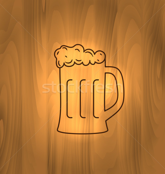 Mug Beer Foam Scorch Wooden Table Stock photo © smeagorl