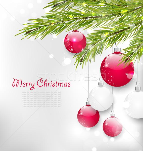Christmas Lighten Card with Fir Branches Stock photo © smeagorl