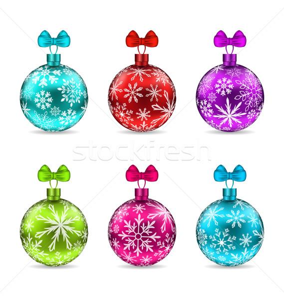 Collectie christmas kleurrijk glazig illustratie Stockfoto © smeagorl