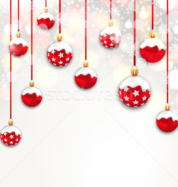 Christmas Red Glassy Balls on Shimmering Light Background Stock photo © smeagorl